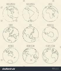 sketch globe south america north america stock vector 334800275