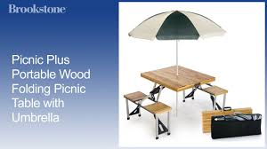 Wooden Folding Picnic Table Picnic Plus Portable Wood Folding Picnic Table With Umbrella