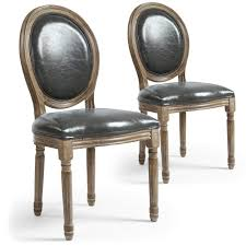 chaises medaillon lot de 2 chaises médaillon royale simili p u gris