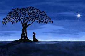 buddha buddhist meditation tree moon artwork poster print silk