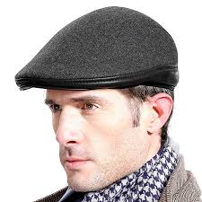 high quality mens solid woolen with ear flaps windproof beret hat