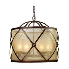 Bronze Pendant Light Fixtures Drum Pendant Light With Glass In Classic Bronze Finish