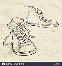 sport shoes sneakers hand drawn vector illustration stock photo