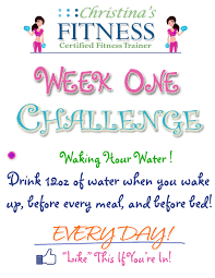 Challenge Of Water Week 1 Challenge Drink More Water Christinasfitness