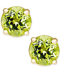 peridot stud earrings genuine birthstone earrings in 14k gold earrings jewelry