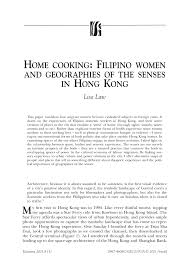 home cooking filipino women and geographies of the senses in hong