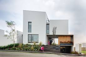 modern exterior of the modern duplex house with underground garage
