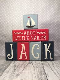 Nautical Baby Nursery Nautical Baby Shower Decor Custom Name Wood Sign Letters