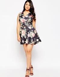 club l plus size skater dress in botanical print with chain belt