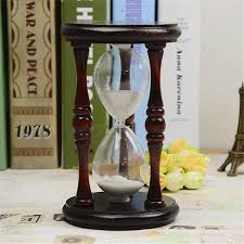 60 minutes wood white sand glass hourglass timer clock home office