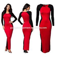 red black long sleeve maxi formal cocktail party bodycon gown