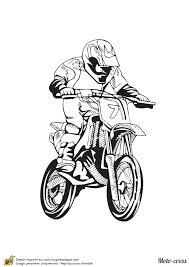 dessin à colorier d u0027une moto cross à fond sur le circuit