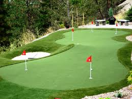 backyard putting green with sports turn integration for a