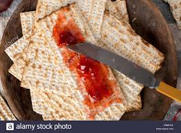 unleavened bread for passover matzah served here with strawberry preserves the unleavened