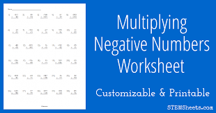 multiplying negative numbers worksheet stem sheets