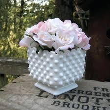Milk Glass Vases Ebay Square Glass Vases Fenton White Milk Glass Hobnail Crimped Vase