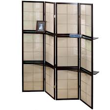 2 panel room divider folding screen 4 panel cappuccino 2 display shelves