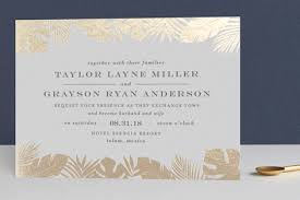 wedding invitations in gilded palm foil pressed wedding invitations by chism minted
