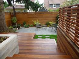 Concrete Planter Boxes by Small Backyard Patio With Two Level Deck Integrated Concrete