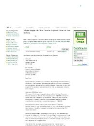 ideas collection sample job offer counter proposal letter for