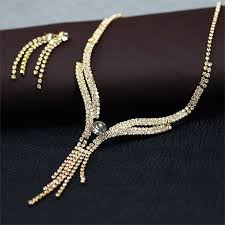 bridal necklace earring images Gold tone clear rhinestones bridal wedding necklace earrings set jpg