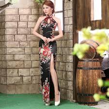 traditional chinese dresses sale backless cheongsam dress black