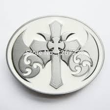 white enamel vintage celtic iron cross oval belt buckle