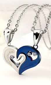 couples heart necklace images Two half hearts necklaces set for couples jewelry pinterest jpg