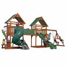 backyard discovery grand towers all cedar swing set playsets