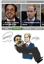 Robert Downey Jr Meme - juxtaposed headlines inspire prince william robert downey jr fanart