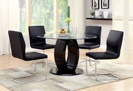 Round Dining Sets Amazon Com Furniture Of America Quezon Round Glass Top Pedestal