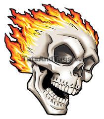 flaming skull temporary skull designs by custom tags