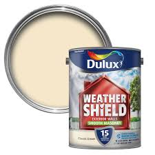 dulux weathershield classic cream smooth matt masonry paint 5l