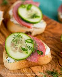 m fr canapes kielbasa and cucumber crostini canapé roundup