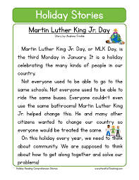 martin luther king jr day reading comprehension worksheet
