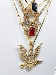black gem necklace images 14k gold plated 5 chain combo iced out ruby iced out black gem jpg