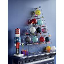 modern industrial metal tree with ornaments