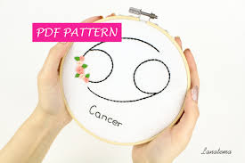 Zodiac Home Decor by Pdf Cancer Sign Of Zodiac Embroidery Hoop Diy Astrology Craft