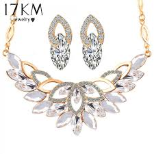 wedding gold sets 17km wedding gold color 3 color flower necklace jewelry