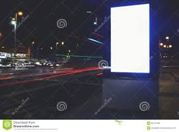 public information board in night city with beautiful lights on