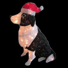 home accents holiday 30 in pre lit tinsel dog with santa hat