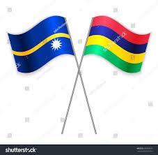 Mauritius Flag Nauruan Mauritian Crossed Flags Nauru Combined Stock Vector