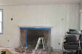 decoration chic paint wood paneling with brick fireplace and