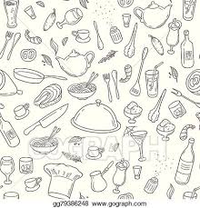 seamless pattern food vector stock food and drink outline seamless pattern hand drawn