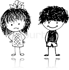 boy and sketch for your design stock vector colourbox
