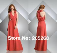 new fashion ruffle halter deep v neck long chiffon coral