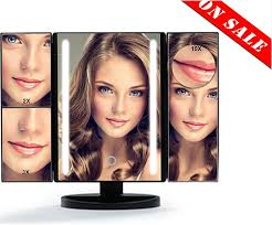 black touch control lighted makeup mirror led lighted makeup mirror vanity mirrors with tri fold touch screen
