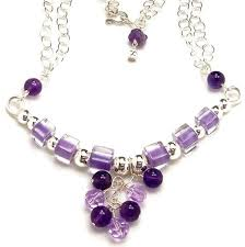 silver purple necklace images Purple necklace beaded bar necklace amethyst gemstone cane jpg