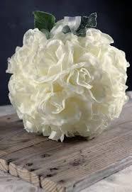 flower balls white silk flower ribbon loop 8 inch