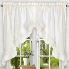 What Is A Cafe Curtain Rod Ivory U0026 Cream Valances U0026 Kitchen Curtains You U0027ll Love Wayfair